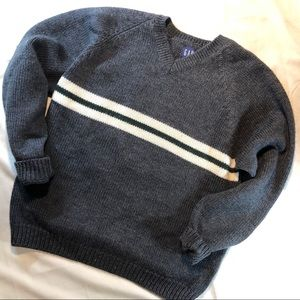 Gap - Charcoal 100% wool Striped V-neck sweater -L